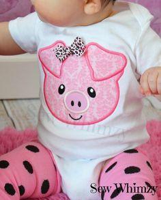 Pig front and back shirt- Pig Applique Shirt- Pig Bodysuit- Monogram Pig Shirt- Girl Pig Shirt- Farm Shirt- Baby Girl Shirt- Piggy shirt – Cute Adorable Baby Outfits Baby Girl Shirts, My Baby Girl, Shirts For Girls, Little Babies, Cute Babies, Little Girls, Baby Outfits, Kids Outfits, Baby Girl Fashion