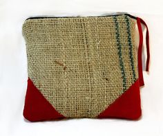 Red Suede & Burlap makeup bag