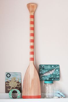 Beach Decor Paddle Red Wood Nautical by SEASTYLE.