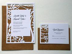 GARDEN LIGHTS Laser Cut Wedding Invitation with response card