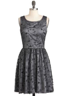 Frosted Fairytale Dress - Grey, Black, Party, Vintage Inspired, A-line, Sleeveless, Mid-length, Wedding, Embroidery, Glitter, Cocktail, Holiday Party, Fit & Flare