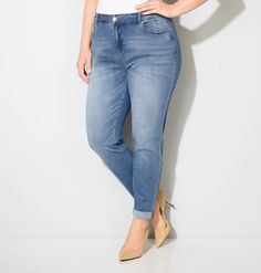 Shop classic girlfriend denim like our new plus size Virtual Stretch® Cuffed Ankle Jean (Med Wash) available in sizes 14-32 online at avenue.com. Avenue Store