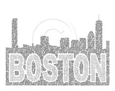 This might be the coolest thing I NEED. Word art, Boston Skyline. $30.00, via Etsy.