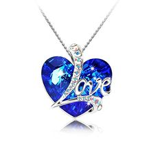 Pealrich Heart of the Ocean Love Heart Pendant Necklace Made with SWAROVSKI Crystal Elements Gift for WomenGirlfriend Blue *** More info could be found at the image url. (This is an affiliate link) Heart Jewelry, Cute Jewelry, Jewelry Sets, Jewelry Accessories, Jewelry Design, Magical Jewelry, Girls Necklaces, Fantasy Jewelry, Schmuck Design