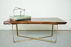 Coffee Table  Live Egde Walnut Slab w/Brass Base by by dylangrey,