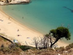 Sandy cove Overview of a quiet sandy beach. Kendros beach, Donoussa island, Small Cyclades, Greece