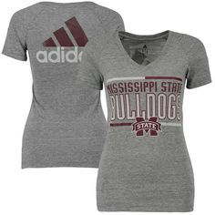 Mississippi State Bulldogs adidas Women's Bar Stack Dots Tri-Blend V-Neck T-Shirt - Gray