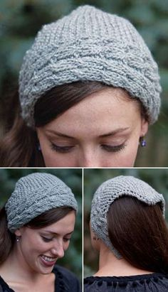 Free Knitting Pattern for Reversible Cable Kerchief - This Pointed Kerchief has a reversible cable headband and garter stitch triangle. Designed by Lisa Shroyer.