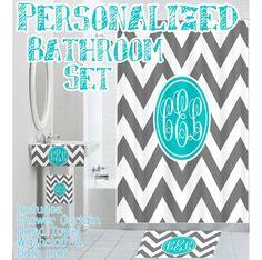 Custom, Personalized, Monogrammed Designer Bathroom Set, Shower Curtain, Hand Towel, Bath Cloth and Bath Mat