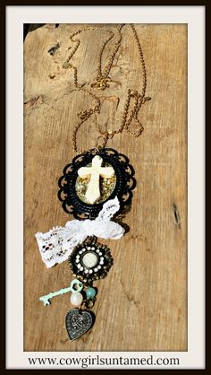 BEAUTIFUL VINTAGE STYLE CAMEO COWGIRL NECKLACE! White Turquoise Cross Black Cameo Lace Key Heart Pearl Horse Charm Antique Bronze & Gold Necklace  #necklace #jewelry #equine #horse #equestrian #cowgirl #gift #western #vintage #heart #key #lace #cross #cameo #pearl #turquoise #gold #beautiful #fashion #boutique #long #wholesalecowgirljewelry