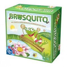 """Jocul de societate """"Brosquito"""" va fi un joc distractiv pentru copilul tău! Micuțul tău intră în marea olimpiadă alături de broscuțele săltărețe! Dă cu zarul, pune o broscuță pe tabla de joc și apasă cu îndemanare să sară peste gard, direct în lacul fermecat."""