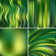 ripple effect: Abstract vector illustration of colorful background with blurred light lines. Set of four square backgrounds. Curved lines. Green color.