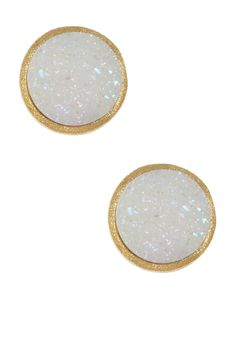 18K Gold Clad Round White Druzy Stud Earrings  PostbackJewelry