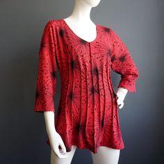 Red Star – iheartfink Women's Handmade Red V Neck Tunic Stars Art Print Top