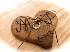Rustic wedding ring bearer pillow holder wooden heart country fall weddings on Etsy, $30.00