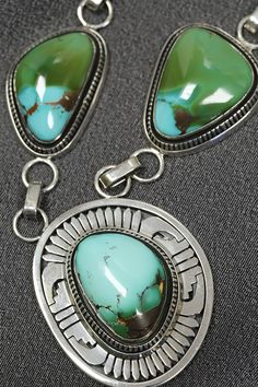 Leonard Nez (Navajo) Natural High Grade Royston Turquoise Necklace with Sterling Silver