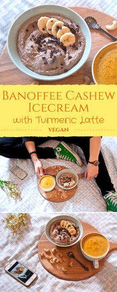 Veganes selbstgemachtes Eis aus Bananen, Cashews & Kaffeepulver. Dazu eine leckere Kurkuma Latte