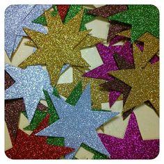 Estrellas de Navidad, hechas con gomaeva