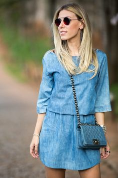 #lookSly Nati Vozza com vestido jeans
