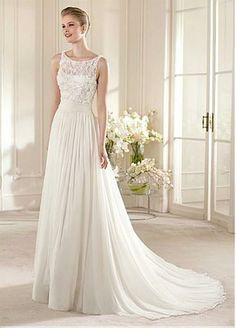 Gorgeous Chiffon & Lace & Satin A-line Illusion Bateau Neckline Raised Waistline Wedding Dress  http://fr.dressilyme.com/p-gorgeous-chiffon-lace-satin-a-line-illusion-bateau-neckline-raised-waistline-wedding-dress-23446.html