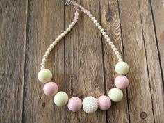 Chunky little girl necklace cream baby pink, newborn photo prop by PaigeandPenelope, $23.00