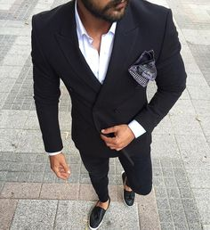 Black double breasted suit and #slipon by @ng.moda [ http://ift.tt/1f8LY65 ]