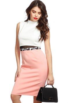 23e29448b2e6 Peach Two Tone Cut Out Body Con Dress   Cicihot sexy dresses