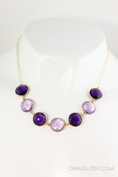 ON SALE Pink and Purple Amethyst Quartz Bib Necklace by OhKuol