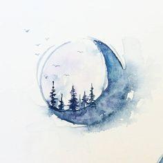 The moon I posted a few days ago was not the only one I painted in my journal…… Der Mond, den ich vor ein paar Tagen gepostet habe, war nicht der einzige, den ich in mein Tagebuch gemalt habe …… Moon Painting, Painting & Drawing, Watercolor Paintings, Painting Inspiration, Art Inspo, Geometric Tatto, Watercolor Moon, Moon Tattoo Designs, Nature Tattoos
