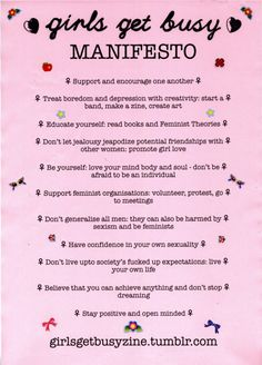 """Don't let jealousy jeopardize potent ion friendships with other women."" WORD! ""girls get busy Manifesto"" #feminism #equality"