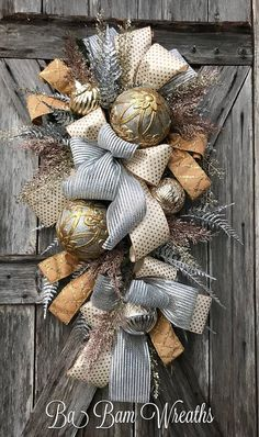 Christmas Wreath Holiday Wreath Champagne Christmas Gold