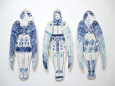 Ceramics by Sonia Pulido Ceramic Painting, Ceramic Art, China Painting, Sculpture Clay, Sculptures, Paper Dolls, Art Dolls, Paper Puppets, Ceramic Figures