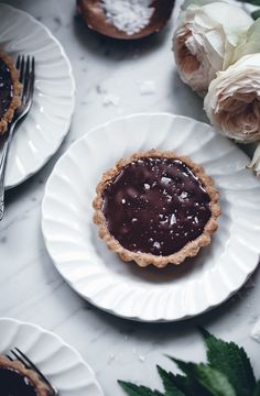 Chocolate hazelnut tartlets with sea salt
