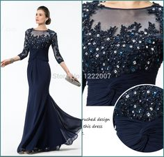 Find More Mother of the Bride Dresses Information about Gorgeous Vestido madrinha  Sheer 3/4 Length Sleeve with Beaded Lace Applique Long Formal Mother of the Bride Dresses Plus Size ,High Quality sleeve casual dresses,China dress shirt sleeves Suppliers, Cheap sleeve prom dress from Dreamyfashion on Aliexpress.com
