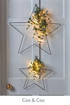 Add a sophisticated presence to your festive dressing with Cox and Cox& Two Light Up Eucalyptus Stars. Our black metal framed stars come in a large and small and are each decorated with faux eucalyptus and fir tree branches spotted with twinkly lights. Christmas Trends, Noel Christmas, Christmas Inspiration, Christmas 2019, Simple Christmas, Christmas Wreaths, Christmas Crafts, Outdoor Christmas, Christmas Ribbon