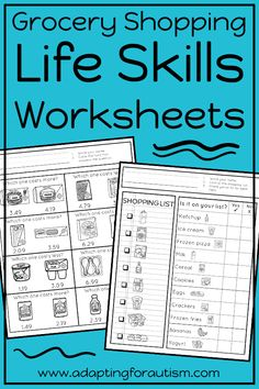These life skills worksheets are perfect for independent work stations in special education classrooms. Can be used in middle school and high school life skills classrooms to practice community skills required for grocery shopping. Life Read more… Life Skills Lessons, Life Skills Activities, Life Skills Classroom, Teaching Life Skills, Future Classroom, School Classroom, Math Activities, Teaching Ideas, High School Life
