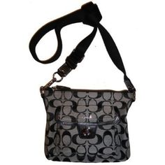 Women's Coach Purse Handbag Signature Pocket Swingpack Crossbody Black/White/Black