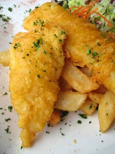 English Style Gourmet Fish and Chips Recipe | Fried Fish Recipes...serve with vinegar (white or malt) lightly drizzled over then lightly sprinkled with sea salt...