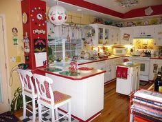 vintage, kitchen, red