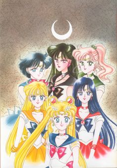 sailor moon inner | Sailor Pluto and the Inner Senshi in Artbook 2. Cover of Volume 6 ...