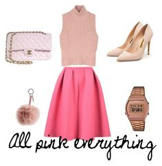 """All Pink everything"" by tania-mrqz on Polyvore featuring Diesel Black Gold, Rupert Sanderson, Chanel, Casio, Fendi, women's clothing, women, female, woman and misses"