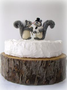 Needle Felted Squirrel Bride and Groom Cake Topper