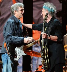 Eric Clapton Keith Richards Photos - Eric Clapton and Keith Richards perform on stage during the 2013 Crossroads Guitar Festival at Madison Square Garden on April 2013 in New York City. - Eric Clapton's Crossroads Guitar Festival 2013 - Day 2 - Show Phil Collins, Keith Richards, Blues Rock, Rock And Roll, Heavy Metal, Eric Clapton Guitar, Los Rolling Stones, The Yardbirds, Best Guitarist