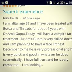 Got this wonderful testimonial from a #swiss patient of ours. Comments like this make us do better and offer better services to our patients . #patientreview #plasticsurgeon #cosmeticsurgeon #patienttestimonial #testimonial #botox #fillers #threads