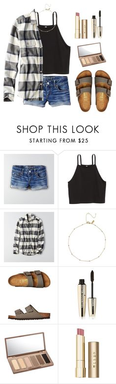 """""""Football Game Today"""" by nellielamay ❤ liked on Polyvore featuring American Eagle Outfitters, H&M, Birkenstock, L'Oréal Paris, Urban Decay and Stila"""