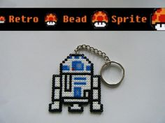 Keychain R2D2  Star Wars Hama mini by Retro-Bead-Sprite