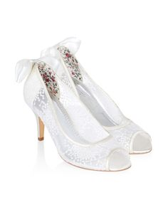 Nadia Lace Peep Toe Bow Shoe | Ivory | Monsoon