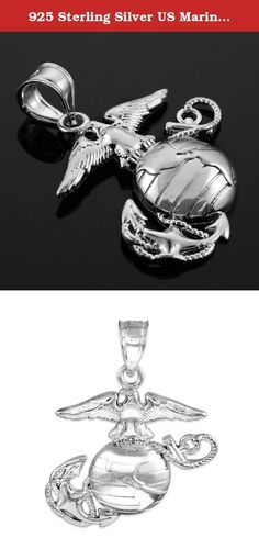 925 Sterling Silver US Marine Corps Small Military Pendant. This authentic 925 sterling silver pendant depicts the US Marine Corps symbol in an intricately crafted tribute especially dedicated for America's brave: the proud, the few, the Marines. The American Eagle, Globe, and Anchor figures featured in this creation come together representing the Marine Corps' commitment of defending the USA by land, by air, or by sea. This beautiful badge of courage is perfect for that brave man or…