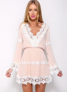 Cute V Neck Lace Panel Long Sleeve Chiffon Mini Dress
