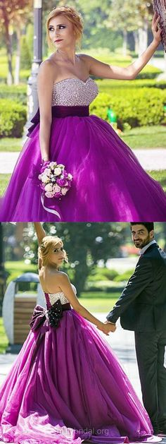 Purple Prom Dresses Ball Gown, Sweetheart Formal Dresses Long, Tulle Sweep Train Beading Evening Prom Dresses New Style